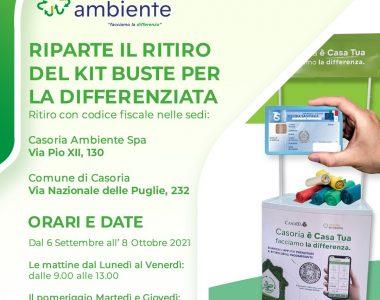Casoria Ambiente riparte con la distribuzione dei kit per la raccolta differenziata